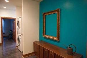 a teal painted wall